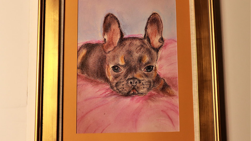 "COCO - French Bulldog - Pastel Painting - ""Print"" on canvas and framed"