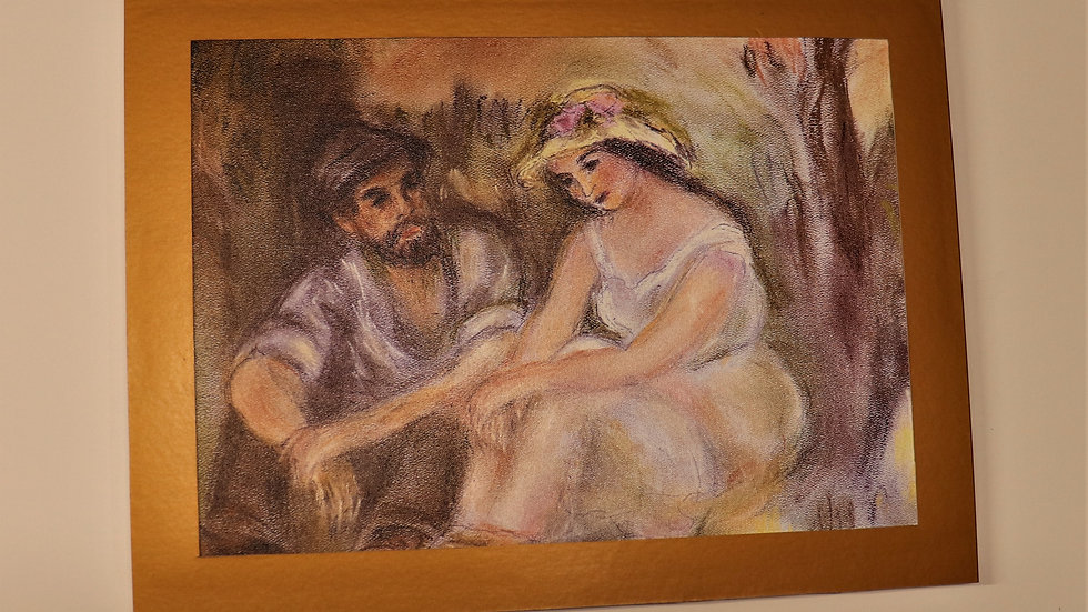 Young Man Young Woman by Renoir - Pastel Reproduction -Print on canvas