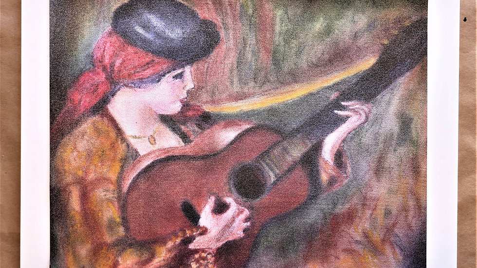 """Pastel Reproduction of Woman in Spanish Dress holding a guitar by Renoir """"Print"""""""