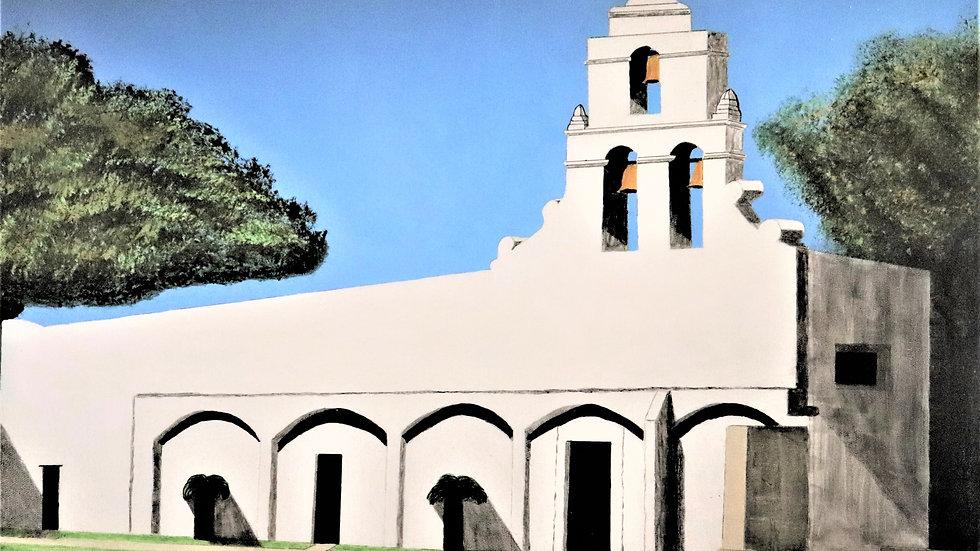 "Mission San Juan - San Antonio Tx - Acrylic painting ""Print"" on canvas"