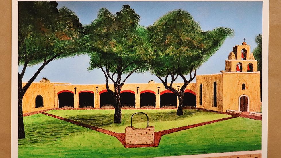 "Mission San Francisco de la Espada - Acrylic painting ""Print"" on canvas"