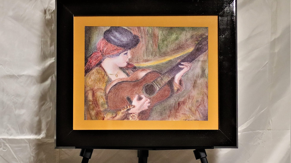 """Pastel Reproduction of Woman in Spanish Dress holding a guitar by Renoir """"Prnt"""""""