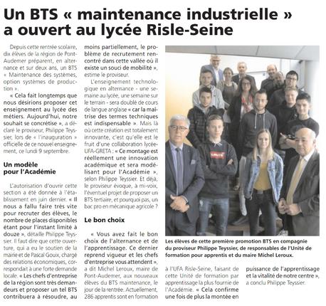 Ouverture du BTS Maintenance Industrielle