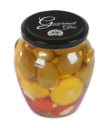 Gourmet-Glas Peppersweet, Oliven, Yellobell gefüllt mit Frischkäse 650g
