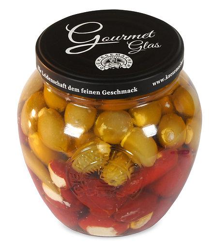 Gourmet-Glas (Peppersweet, Oliven, Scharfe Pefferoni mit Frischkäse) 1500g