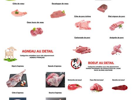 Nos viandes autre que celles de «canard» !