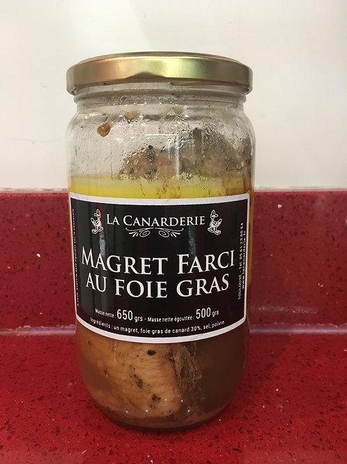 Magret de canard farci au foie gras bocal 650g