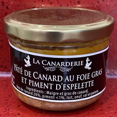 Pâté de canard au foie gras et piment d'Espelette (pur canard) bocal 200 g