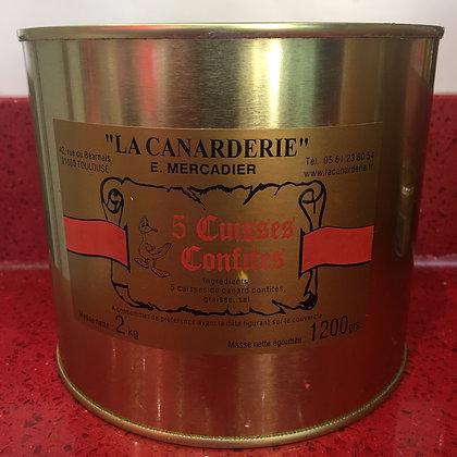 5 cuisses de canard confites boite 2,2 kg