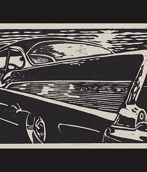 """Cruise Night- '57"" Hand Pulled Lino Print"