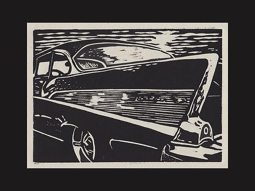 """Cruise Night- '57"" Hand Pulled Lino Print"