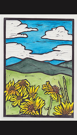 """Wyoming Wildflowers"" Hand Colored Lino Print"