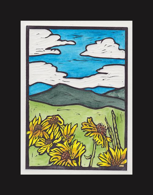 Wyoming Wildflowers Hand Colored Lino Print