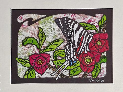 Zebra Swallowtail with Pawpaw Blossoms