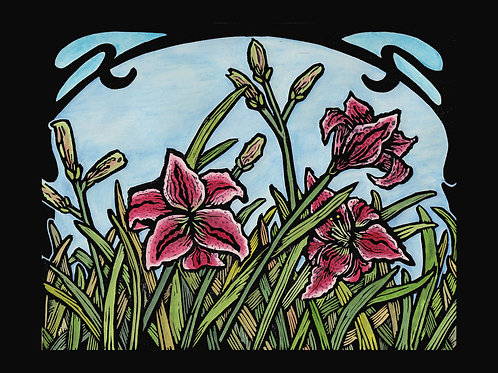 """""""Spring Lilies"""" Hand Colored Lino Print"""