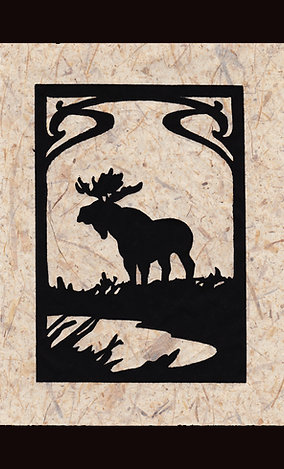 """North Country-Moose"" Lino Print"