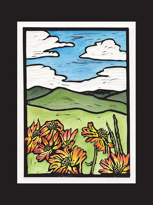 """Wyoming Wildflowers"" Hand Colored Lino Print"