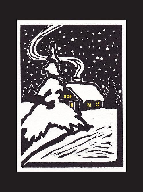 """""""Winter Repose"""" Hand Colored Lino Print"""