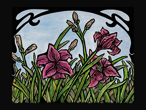 """Spring Lilies"" Hand Colored Lino Print"