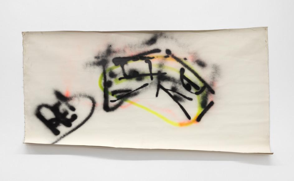 Corrado Levi, A Roberto, 1983, spray su tela, 108 x 211cm