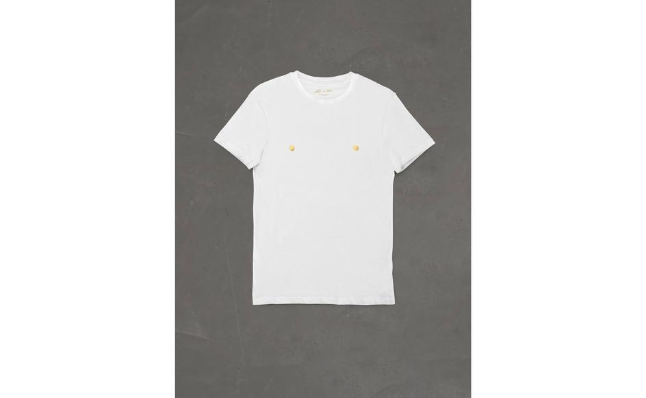 Corrado Levi, T-shirt capezzoli d'oro, 1983-2021, tessuto, foglia oro, ed.100