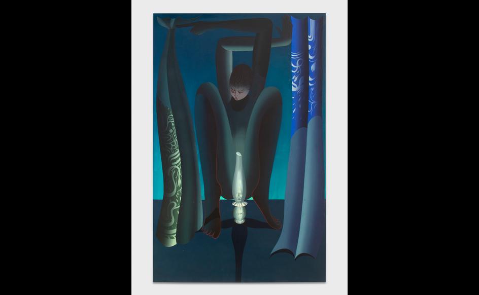 Igor Hosnedl, Night Shift, my Green Boy, 2020, pigmenti artigianali in colla su tela, 210x135cm