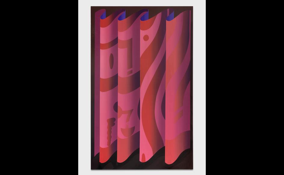 Igor Hosnedl, Red curtain, 2020, pigmenti artigianali in colla su tela, cm 190x120