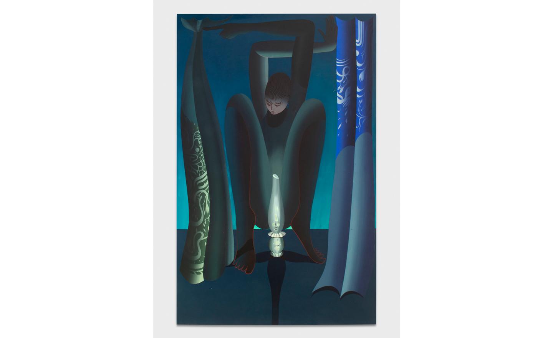 Igor Hosnedl, Night Shift, my Green Boy, 2020, handmade pigments in glue on canvas,  cm 210x135