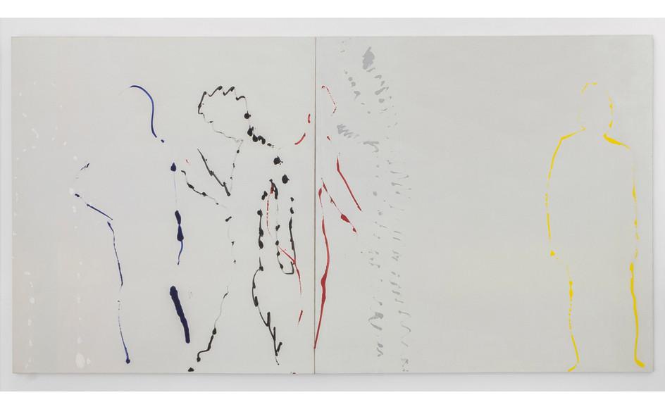 Corrado Levi, Tracce di nudi, 1982, acrilico su tela, cm 200x380