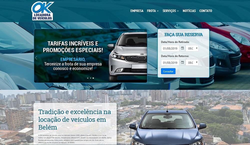 novo site da OK Locadora