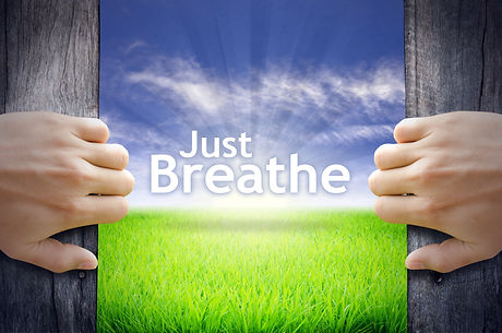 _Just Breathe_ Motivational quotes. Hand