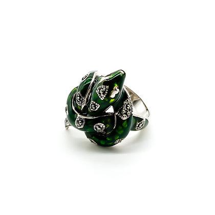 Silver Green Enamel Snake Ring