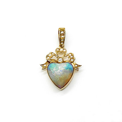 18ct Gold, Opal, Diamond and Seed Pearl Heart Pendant (Sold)