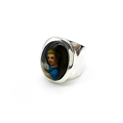 Vintage Silver Ring set with Porcelain Picture