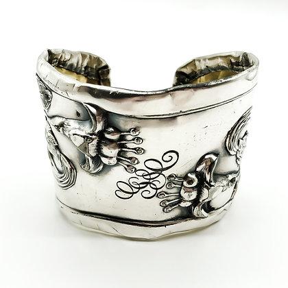 Art Nouveau Silver on Brass Bangle