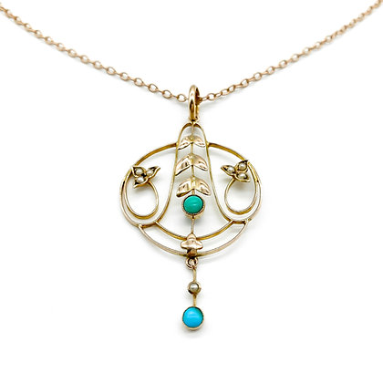 Edwardian 9ct Rose Gold Pearl and Turquoise Pendant on Chain (Sold)