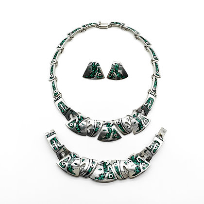 Silver Mexican Set with Malachite Inlay