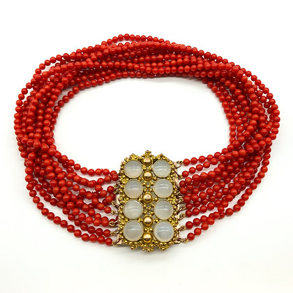 Coral Choker with Victorian Moonstone Ormolu Clasp (Sold)