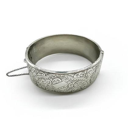 Engraved Silver Bangle