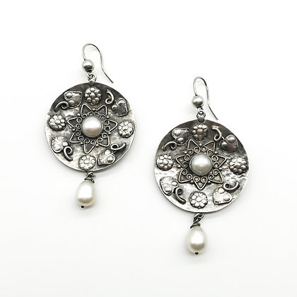 Arts and Crafts Style Silver Drop Earrings set with Pearls