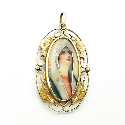 Antique Hand-Painted Madonna in 18ct Gold Frame