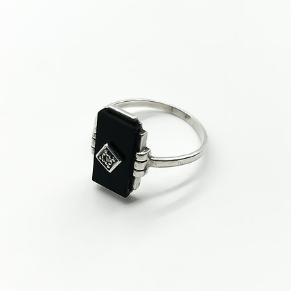 Art Deco Silver and Onyx Ring (Sold)