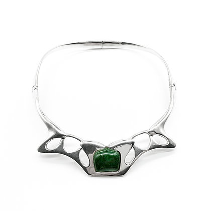 Vintage Silver Mexican Choker set with Green Stone