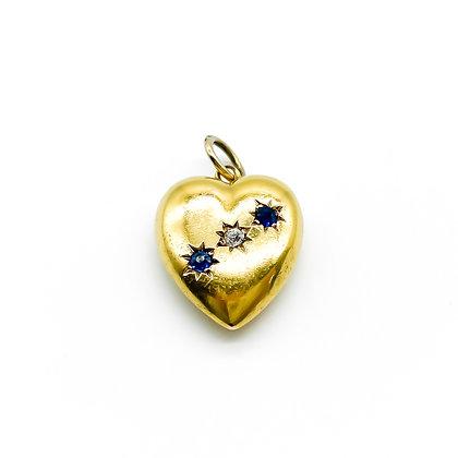 Victorian 15ct Gold Sapphire and Diamond Pendant