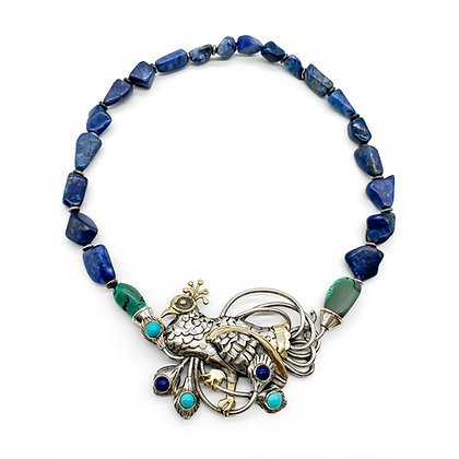 Silver and Gold Lapis Lazuli and Turquoise Necklace