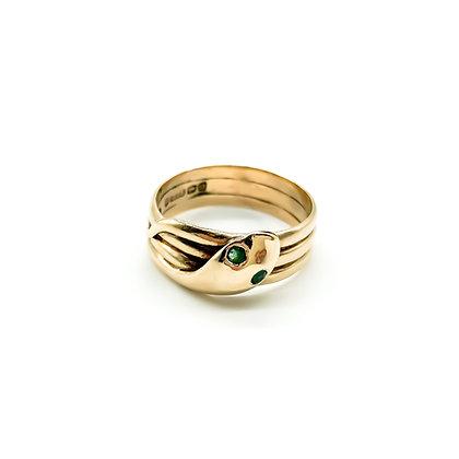 Edwardian 9ct Gold Snake Ring with Emerald Eyes