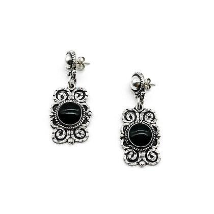 Silver Mexican Onyx Earrings