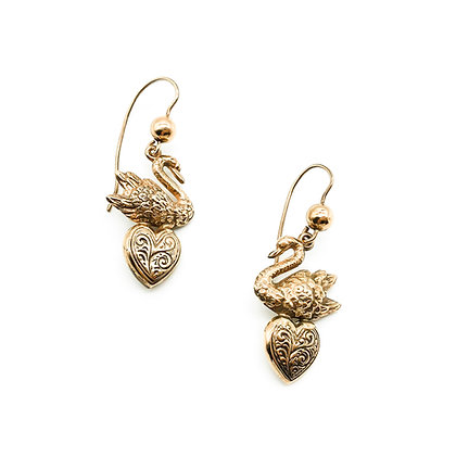 Victorian Style 9ct Rose Gold Swan Earrings