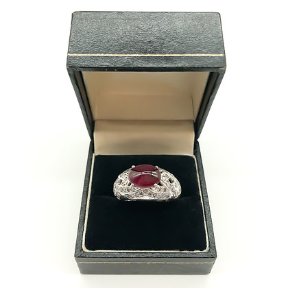 14ct White Gold Ring with Cabochon Ruby and Diamonds
