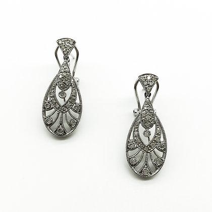 18ct White Gold Pavé Set Diamond Earrings